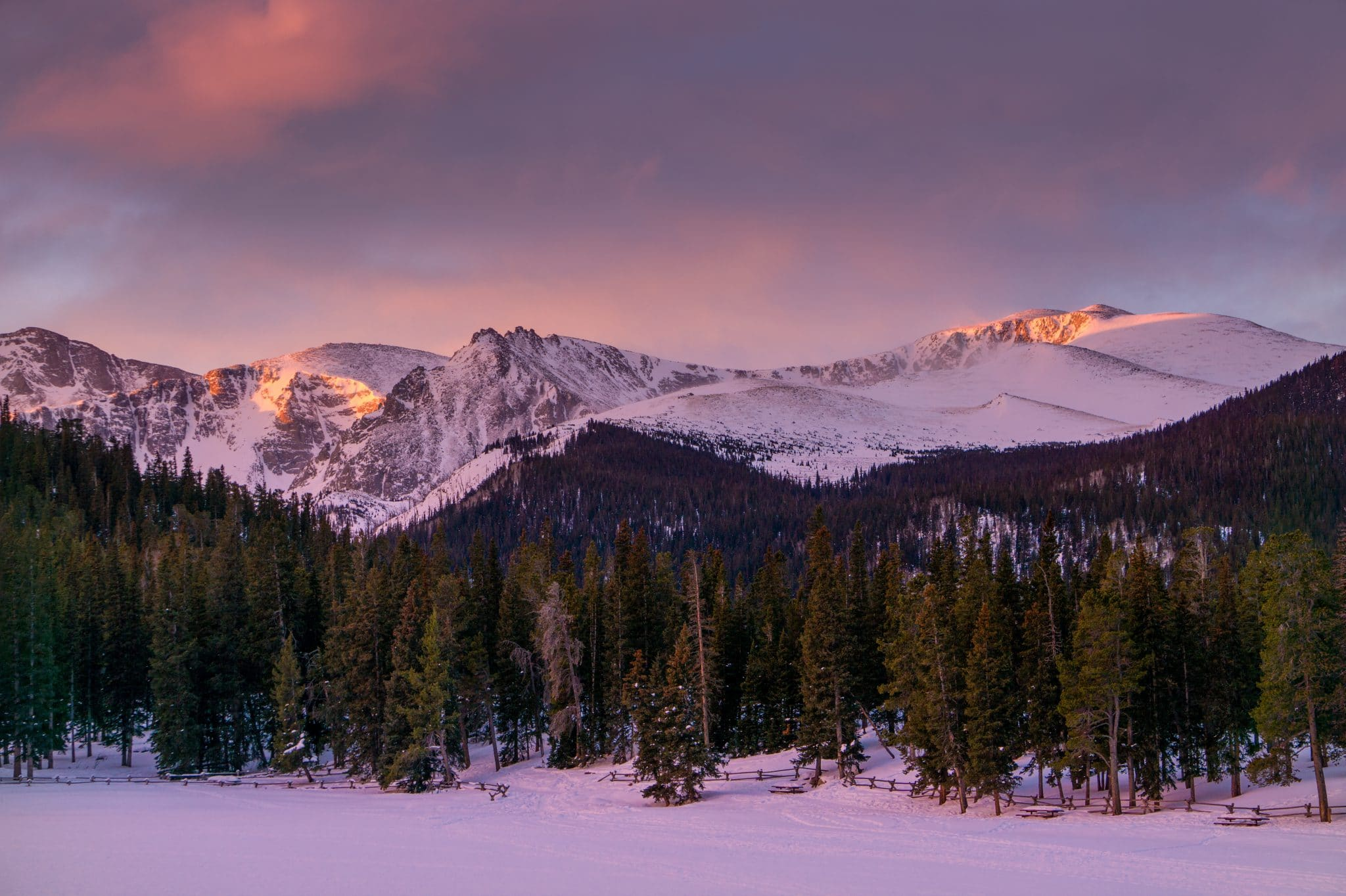 Photo of first light on Mount Evans, from Echo Lake Park. Idaho Springs, Colorado.