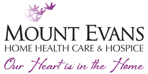 """The Mount Evans logo with graphic purple birds flying overhead and the tag-line """"Our Heart is in the Home"""" beneath."""