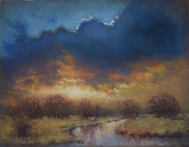 "Painting by Aaron's father, Roger Ambrosier, titled ""Sacred Silence"". Landscape painting showing storm clouds over a winding meadow stream at sunset."