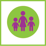 Decorative graphic of a mom and two kids on green circle background