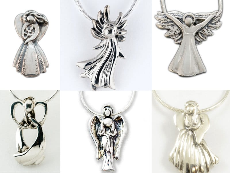 Collection of various silver Evergreen Angel pendants