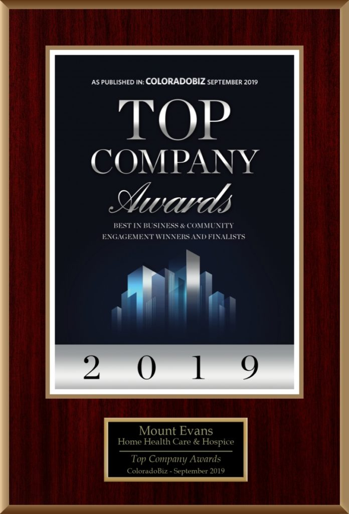 Graphic showing the 2019 Top Company Award by Colorado Biz Magazine