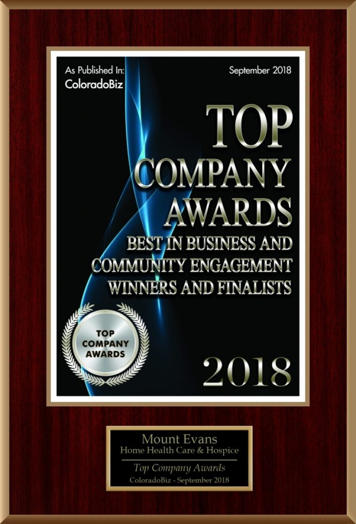 Graphic showing the 2018 Top Company Award by Colorado Biz Magazine
