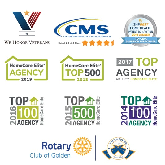 Logo collage showing Mount Evans Home Health Care and Hospice list of Awards