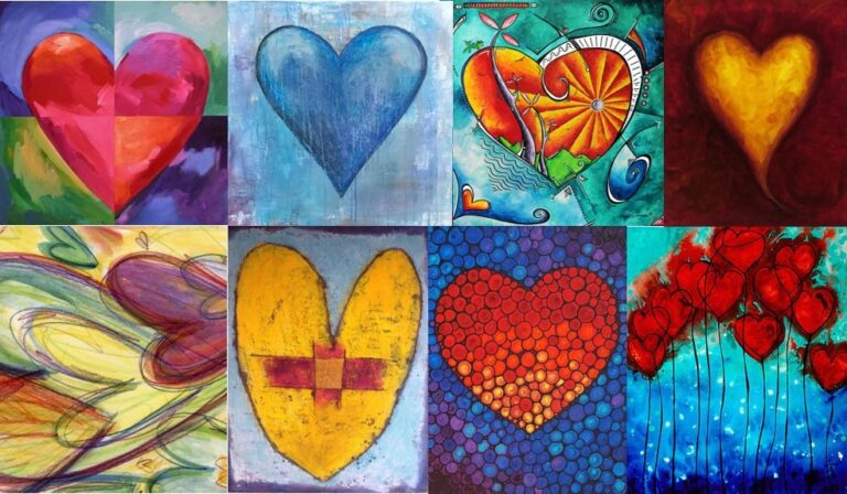 Healing Hearts Art Project photo showing custom painted heart shapes in a collage pattern