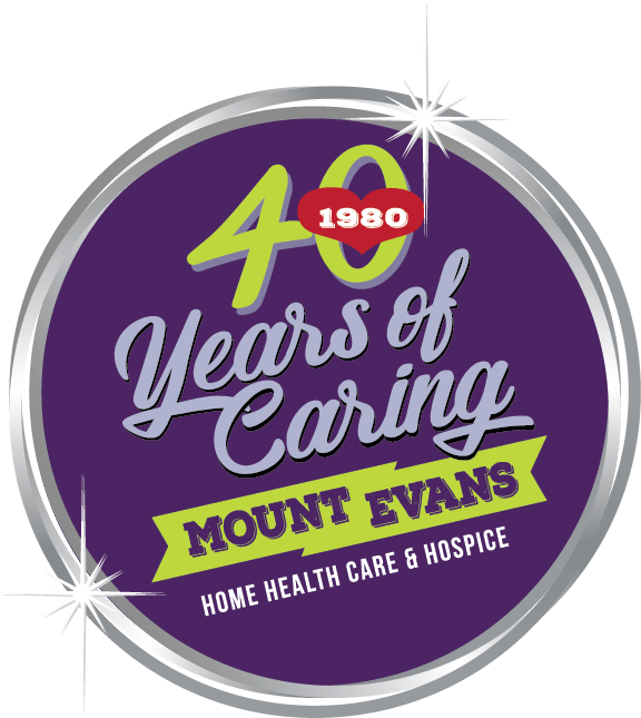 "Birthday Gala Logo showing purpole circle and inside text reading ""40 Years of Caring, Mount Evans Home Health Care and Hospice"""