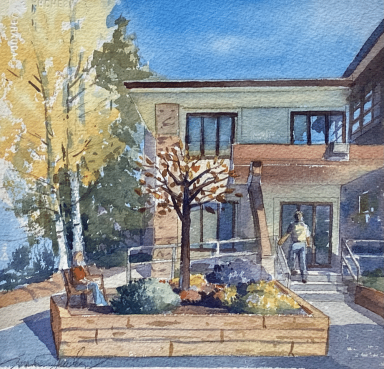 Rendering by local artist Susan Jarecky of the Spirit of Giving sculpture soon to be located in the new garden at the Mount Evans building.