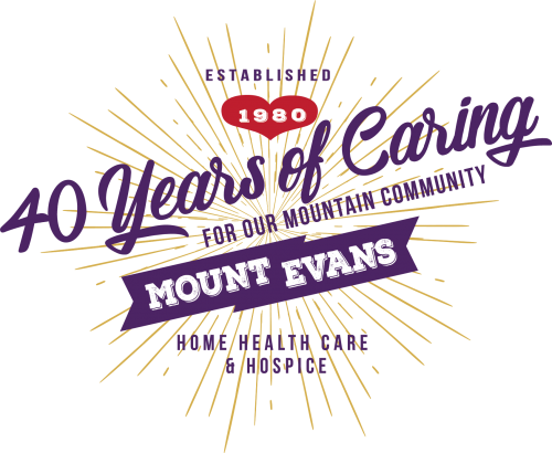 Graphic text logo from Mount Evans showing