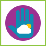 Decorative graphic of a blue hand with clouds and sun inside on purple circle background