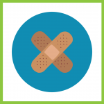 Decorative graphic of band-aids on blue circle background