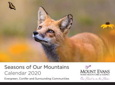 Cover image of the 2020 Seasons of Our Mountains Calendar showing a red fox staring at a monarch butterfly