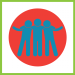 Decorative graphic of three blue people with their arms around each others shoulders on a yellow circle background
